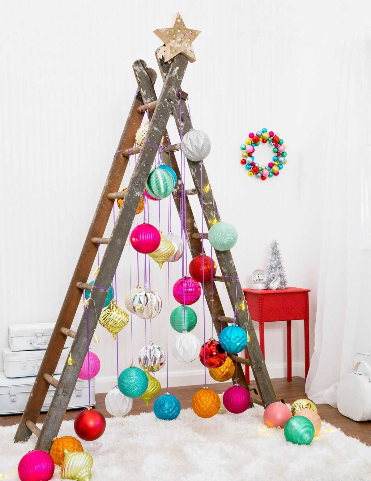 A ladder Christmas tree is a creative and hopefully non-toxic alternative to an artificial tree